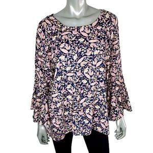 Lauren Conrad Bell Sleeve Floral Top Plus Size XXL